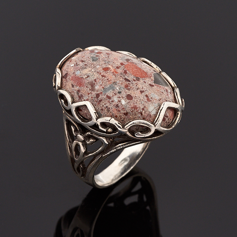 Кольцо яшма брекчиевая (серебро 925 пр.) размер 18 кольцо art silver цвет антрацитовый кч2077 733 размер 18