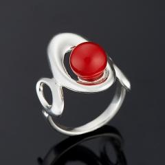 Кольцо коралл красный Индонезия (серебро 925 пр.) размер 18