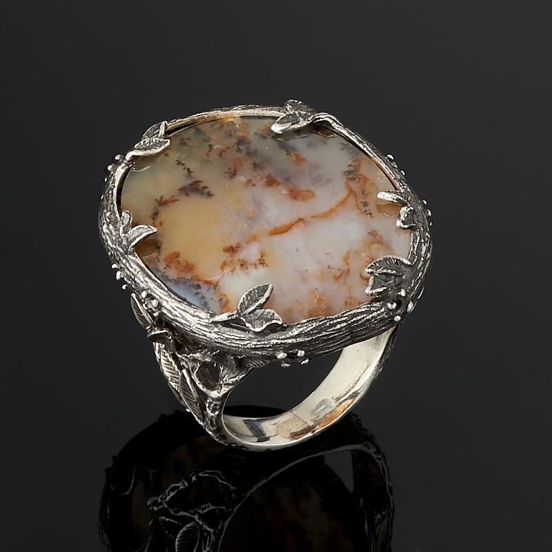 Кольцо агат пейзажный (серебро 925 пр.) размер 19 подвеска агат пейзажный натуральная кожа