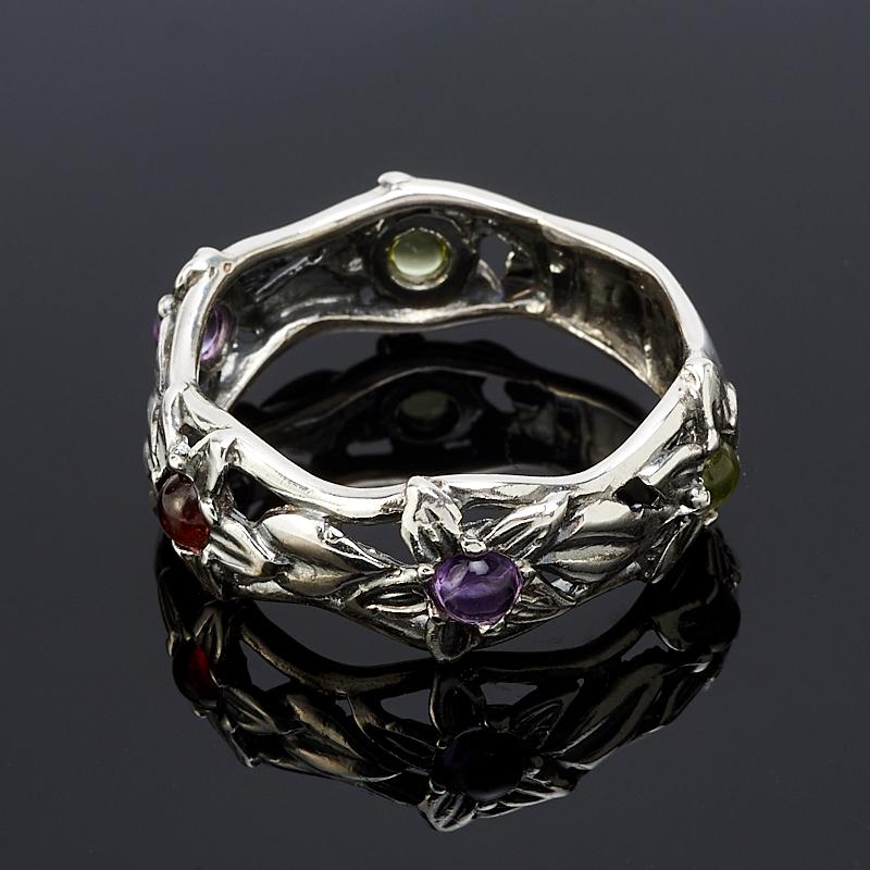Кольцо микс аметист, гранат, хризолит (серебро 925 пр. оксидир.) размер 18