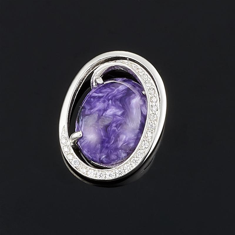 Кулон чароит  овал (серебро 925 пр.)