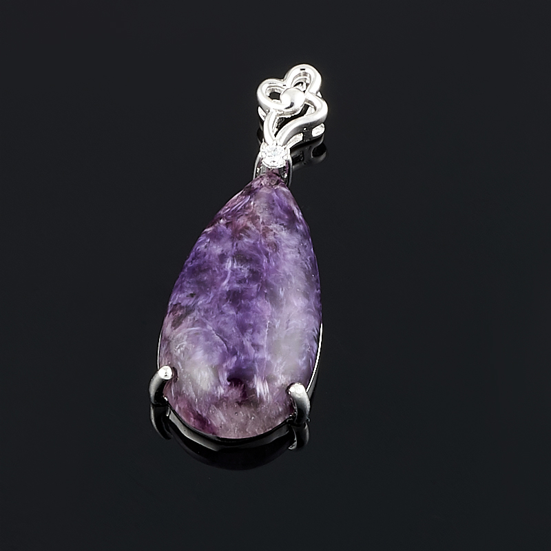 Кулон чароит  капля (серебро 925 пр.)