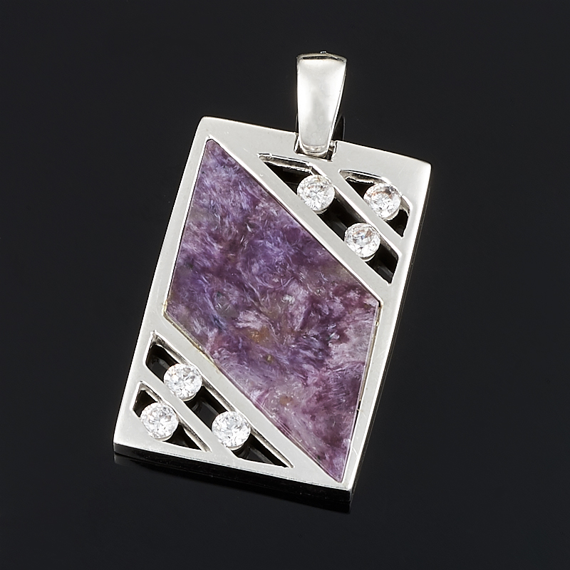 Кулон чароит  прямоугольник (серебро 925 пр.)