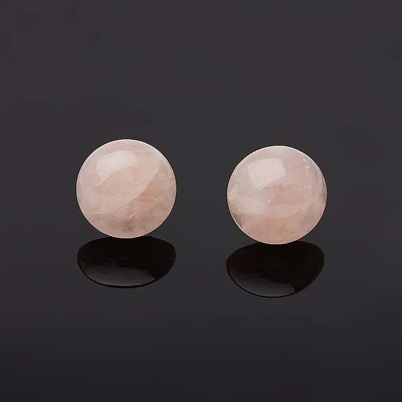 Серьги розовый кварц  пуссеты (биж. сплав)