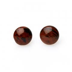 Серьги обсидиан коричневый Армения пуссеты (биж. сплав)