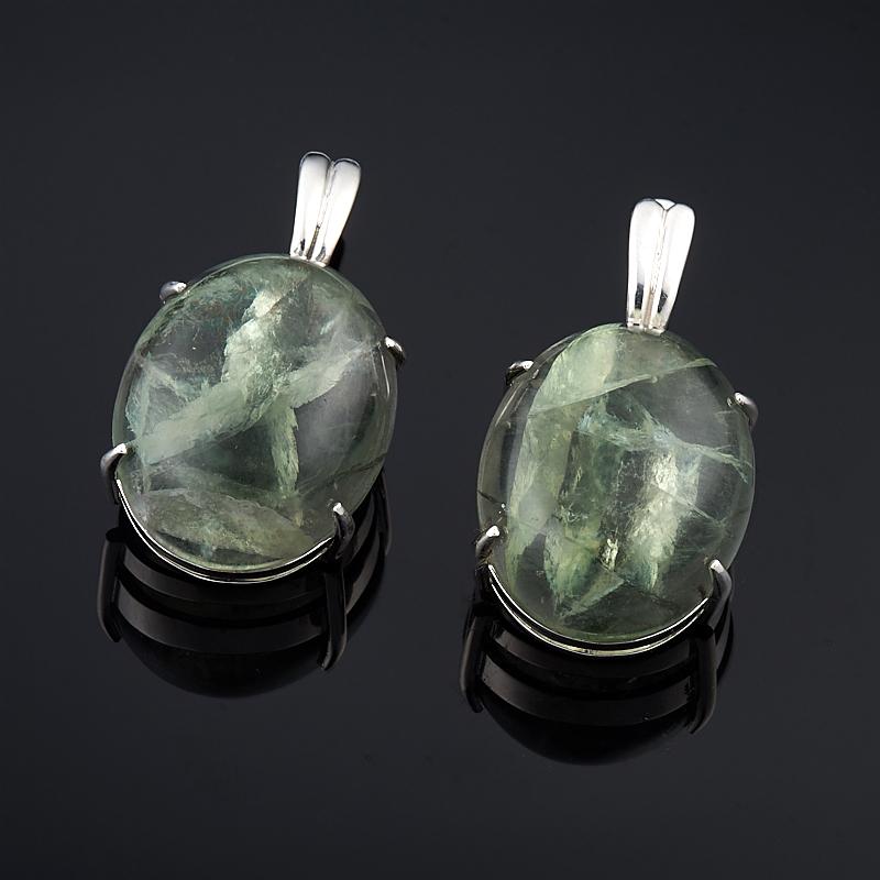 Серьги флюорит зеленый (серебро 925 пр.)