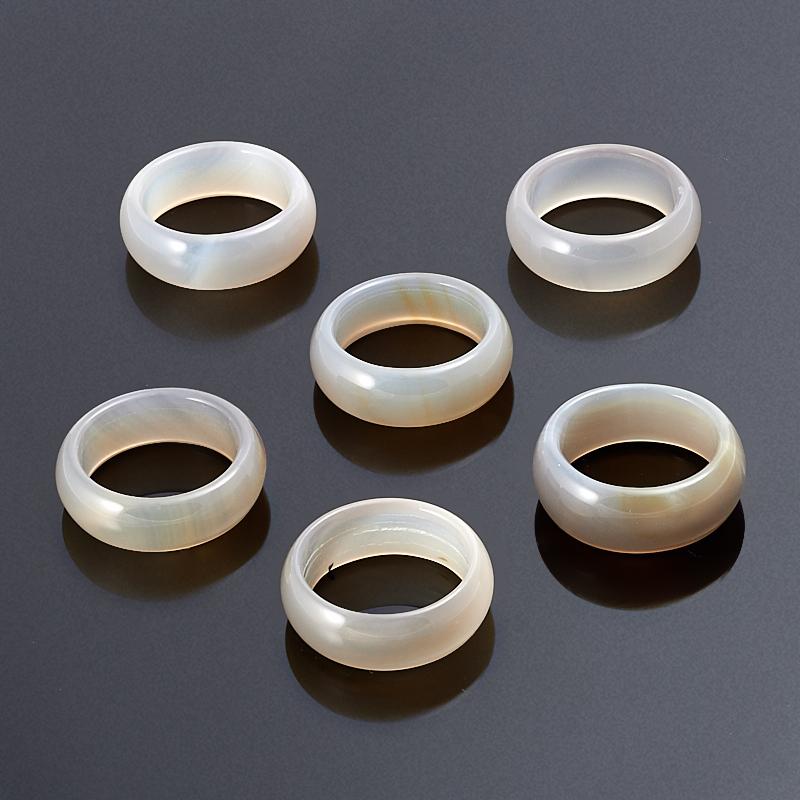 Кольцо агат серый (цельное) размер 20