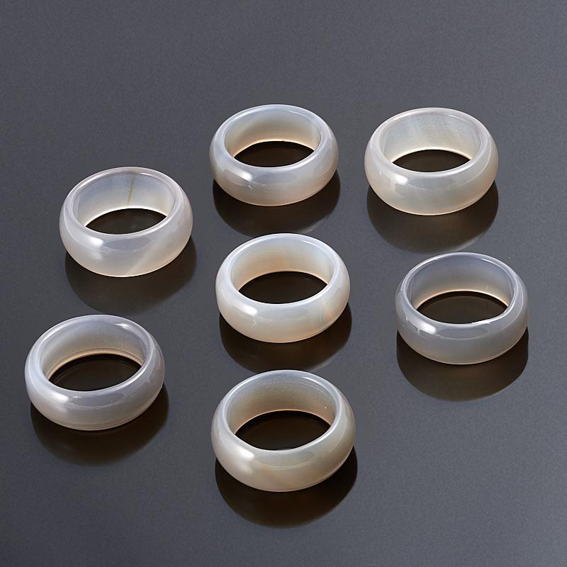 Кольцо агат серый (цельное) размер 19