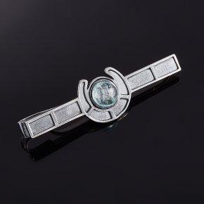 Зажим для галстука аквамарин Россия (серебро 925 пр.)