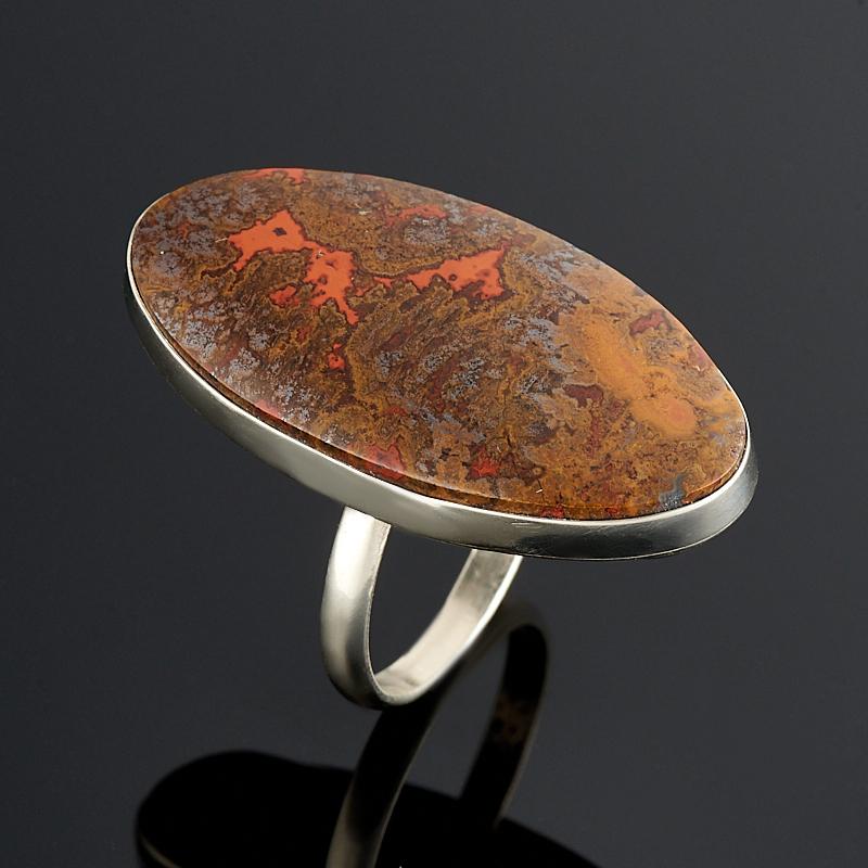 Кольцо агат с гематитом и гетитом (дублет) (нейзильбер) размер 19