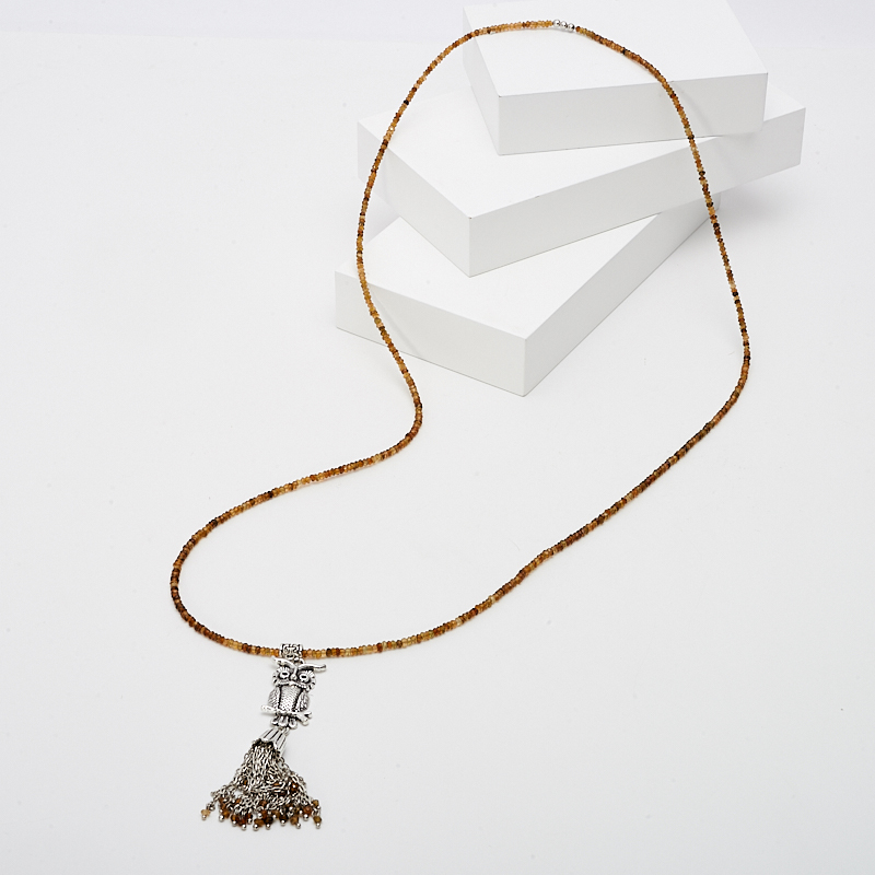 Бусы турмалин коричневый (дравит) (сотуар) длинные огранка 74 см (биж. сплав) цены онлайн