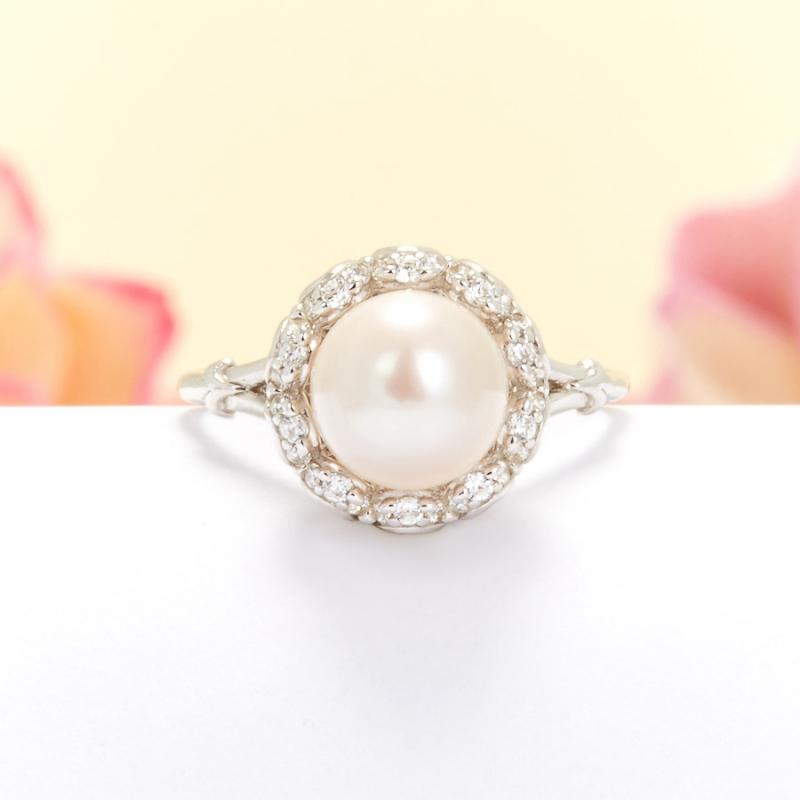 Кольцо жемчуг белый (серебро 925 пр.) размер 17 цены