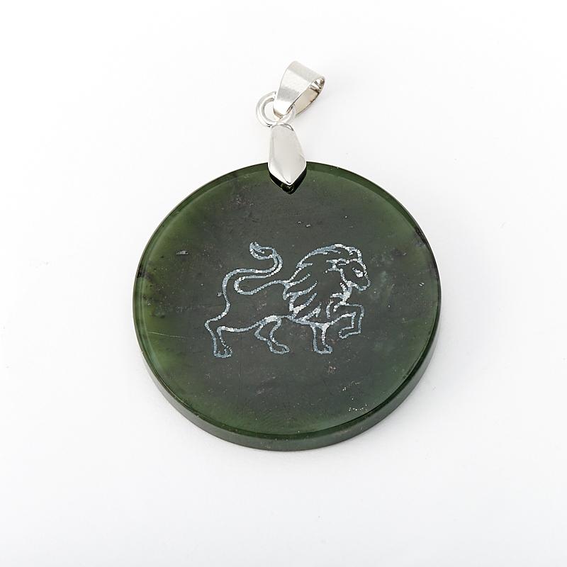 Кулон Лев нефрит зеленый круг 5 см (биж. сплав)