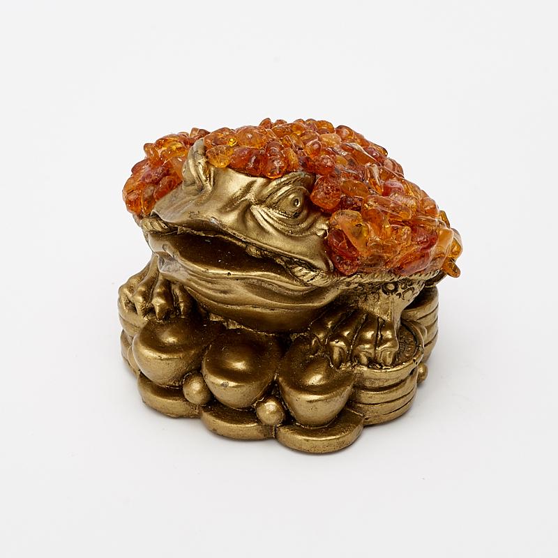 Денежная жаба янтарь 5 см копилка premium gips денежная жаба 34 х 23 х 25 см