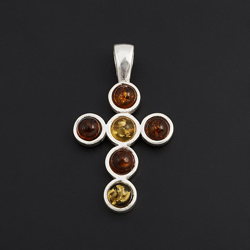 Кулон янтарь крест (латунь посеребр.) 3 см стоимость