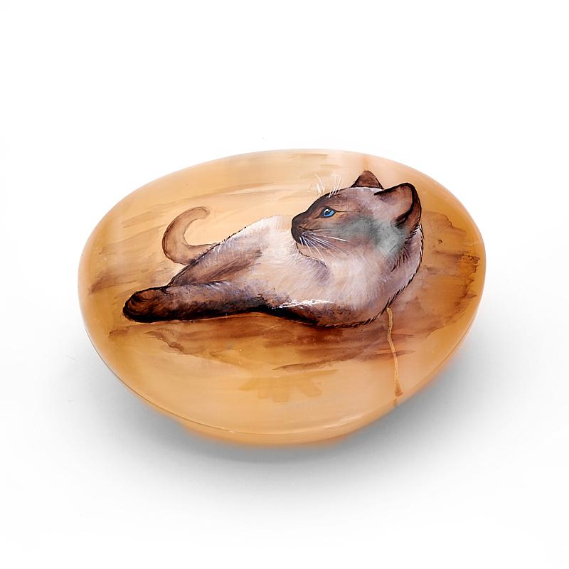 Шкатулка с кошкой селенит 4,5x7,5x10 см