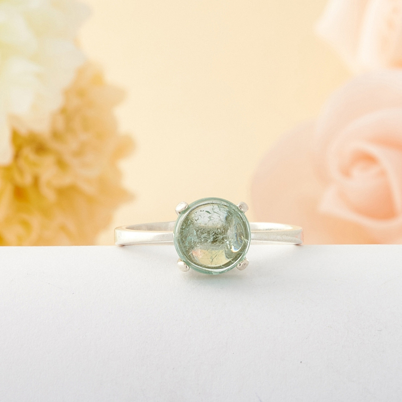 [del] Кольцо голубой турмалин Мадагаскар (серебро) размер 19