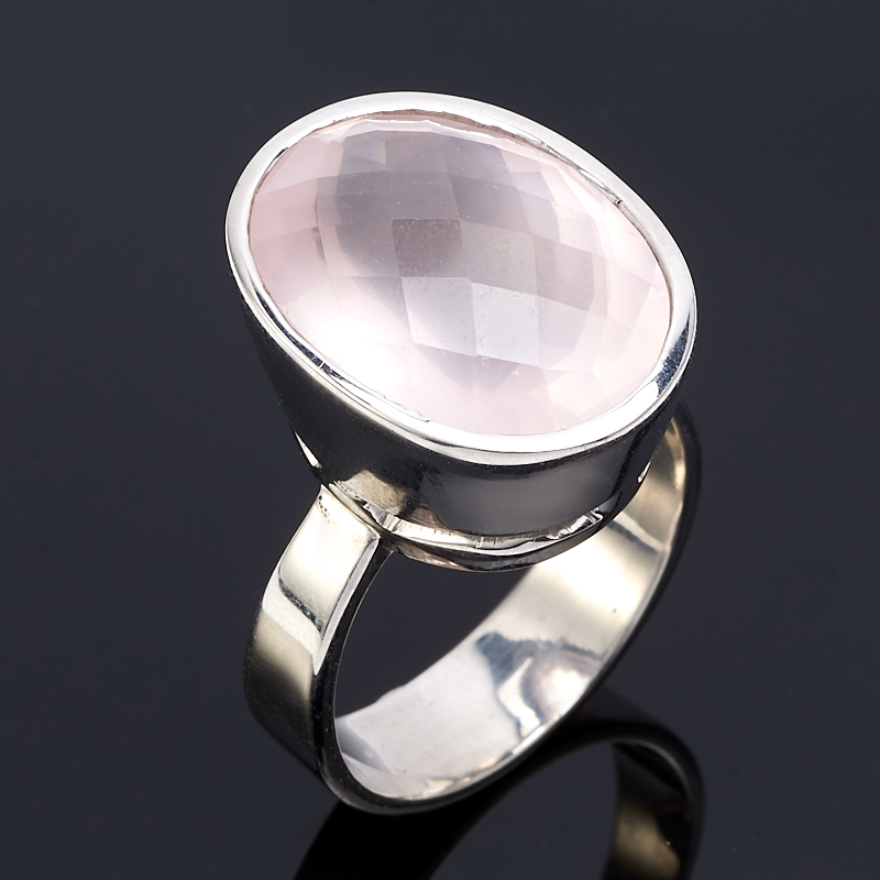 Кольцо розовый кварц  огранка (серебро 925 пр.) размер 19