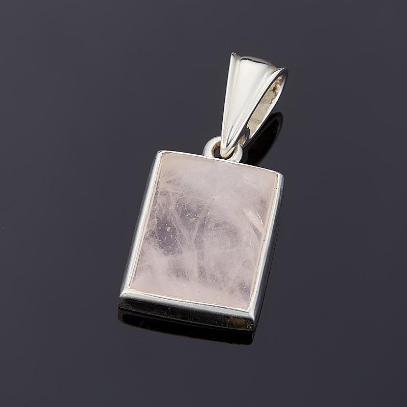 Кулон розовый кварц  прямоугольник (серебро 925 пр.)
