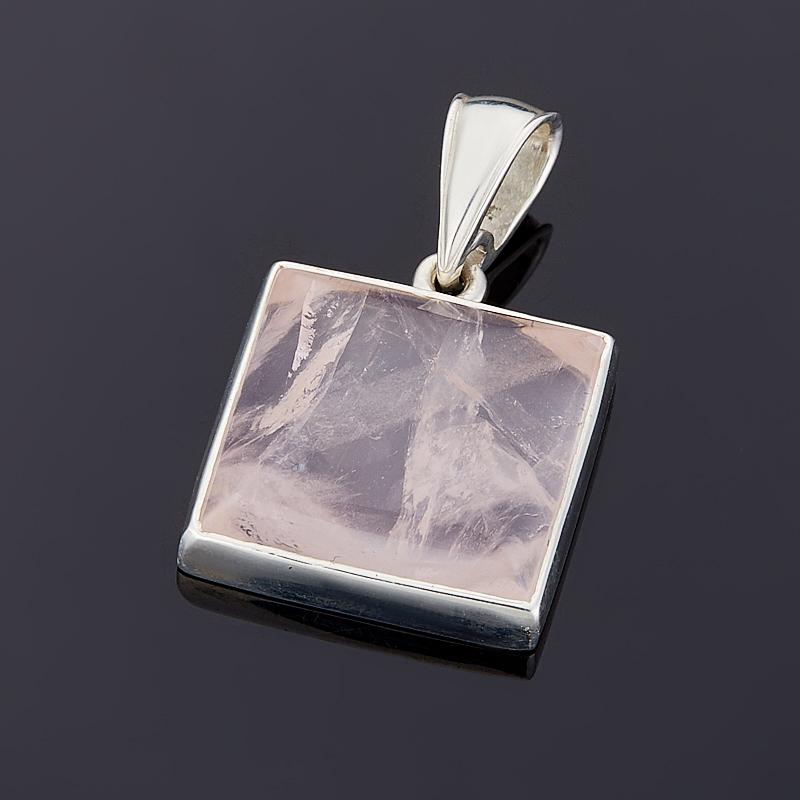 Кулон розовый кварц  квадрат (серебро 925 пр.)