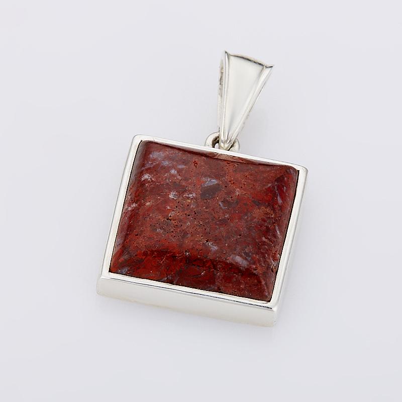 Кулон яшма брекчиевая  квадрат (серебро 925 пр.)