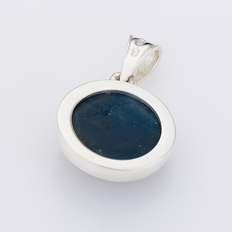 Кулон апатит синий Бразилия круг (серебро 925 пр.)