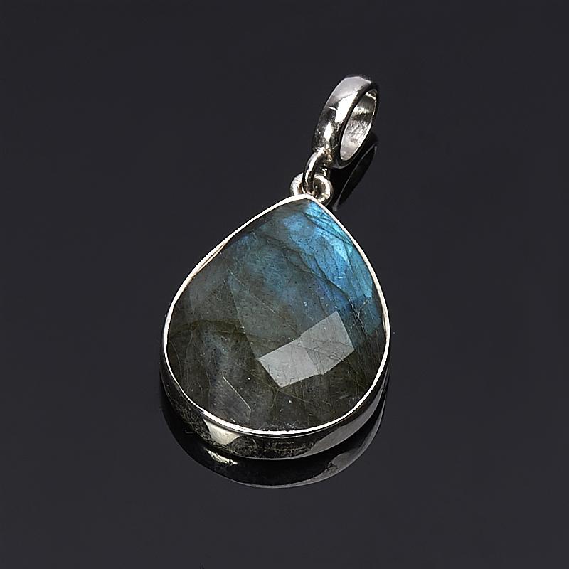 Кулон лабрадор  капля огранка (серебро 925 пр.)