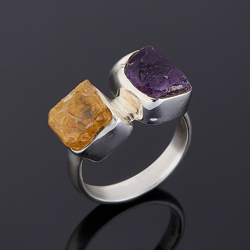 Кольцо аметист, цитрин  (серебро 925 пр.) размер 17