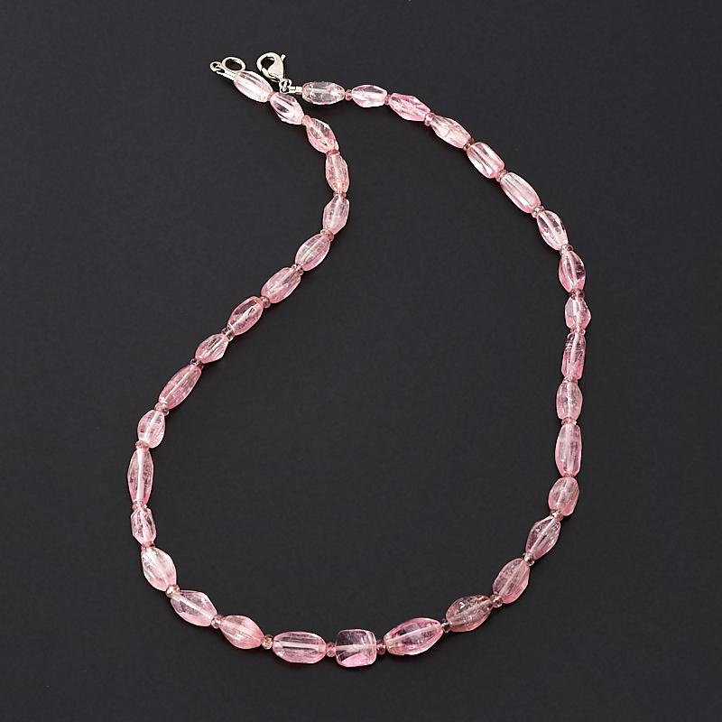 Бусы турмалин розовый (рубеллит) 45 см (биж. сплав)