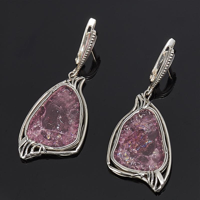 Серьги турмалин розовый (рубеллит)  (нейзильбер)