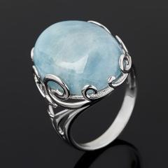Кольцо аквамарин Бразилия (серебро 925 пр. родир. бел.) размер 17,5