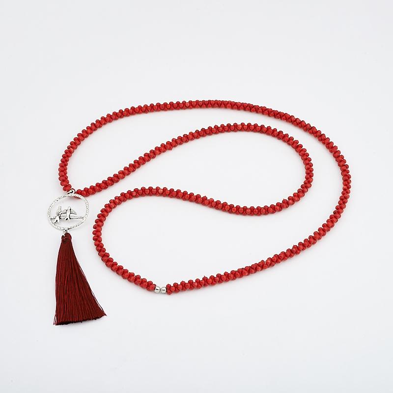 Бусы коралл красный  (сотуар) длинные 84 см (биж. сплав)
