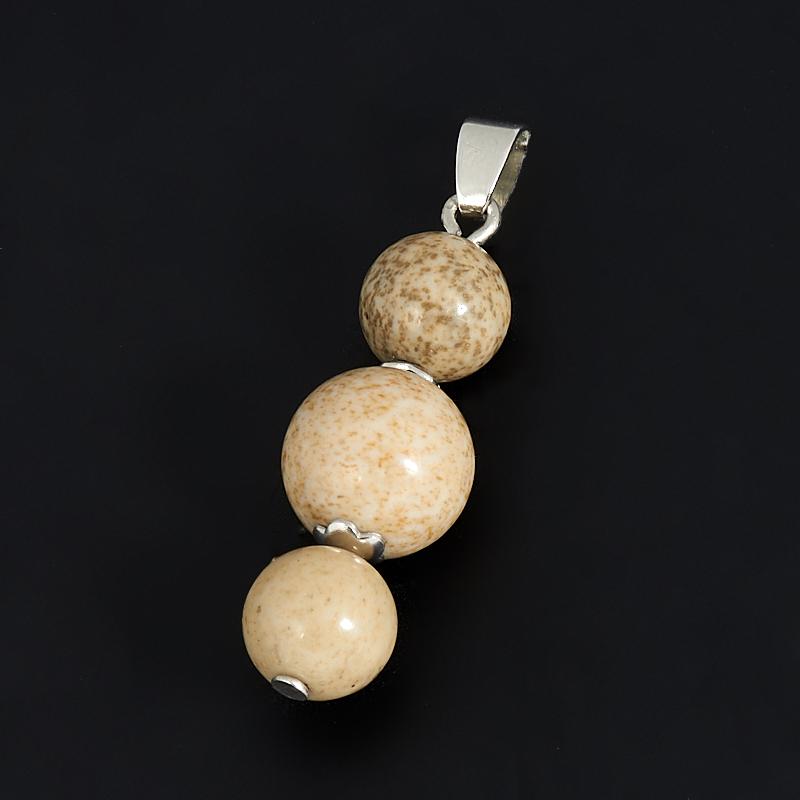 Кулон яшма рисунчатая (биж. сплав) 3,5 см стела яшма m