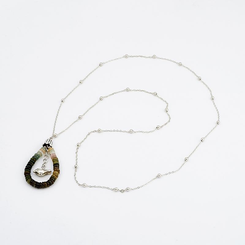 Кулон турмалин зеленый (верделит) (биж. сплав) кольцо на 2 пальца лори биж сплав
