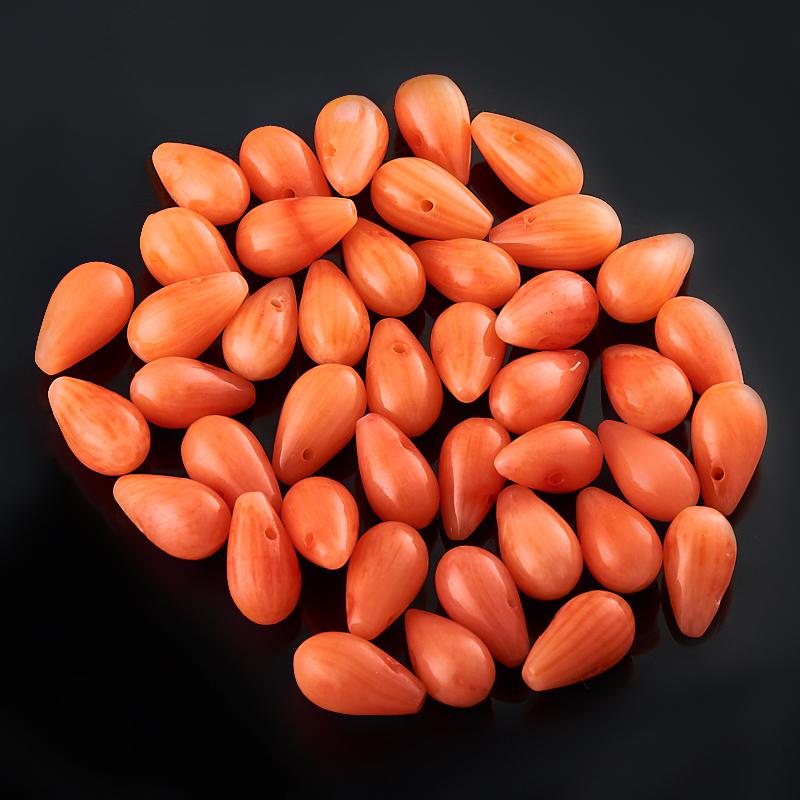 Бусина коралл оранжевый капля 5*10 мм (1 шт) аквагрунт экстра оранжевый 5 10 2кг ведро 1 5 литра