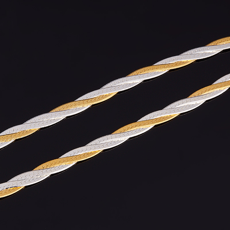 Цепь полновесная косы 55 см (серебро 925 пр., позолота)