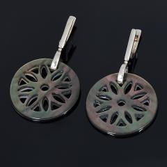 Серьги перламутр черный Индонезия (серебро 925 пр.)