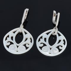 Серьги перламутр белый Индонезия (серебро 925 пр.)