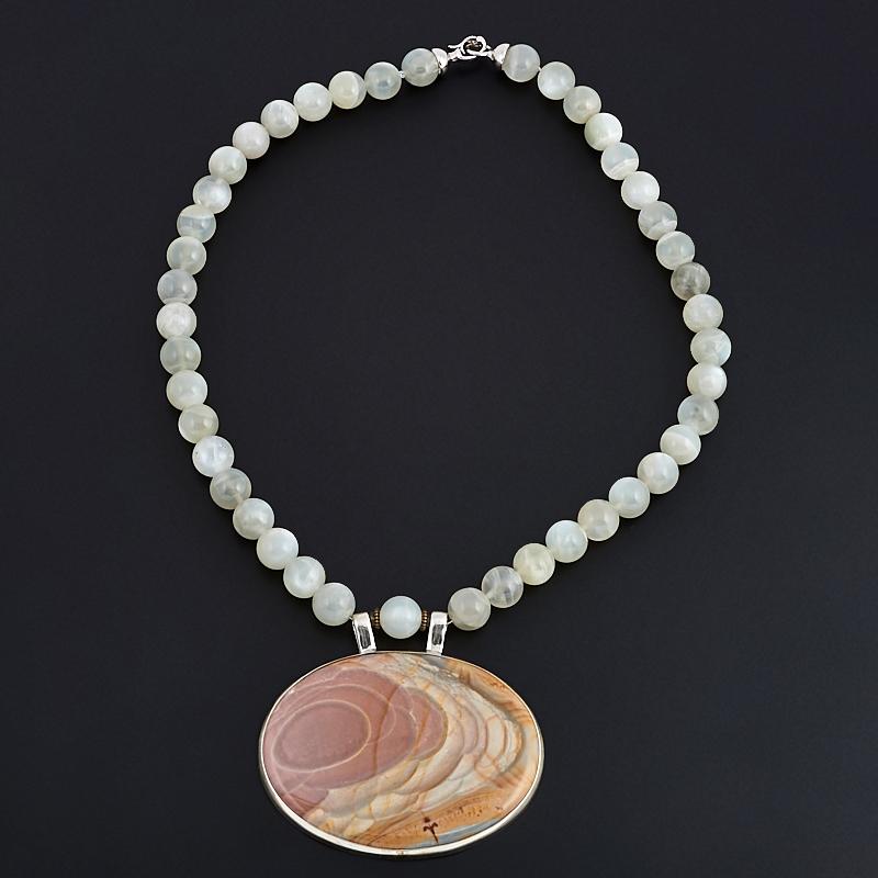 Колье лунный камень, яшма 10 мм 45 см (серебро 925 пр.)