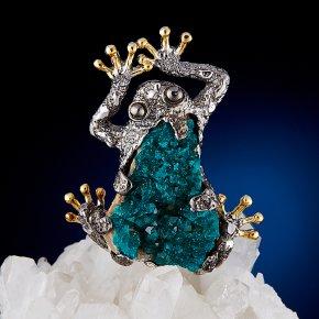 Кулон диоптаз Казахстан лягушка (серебро 925 пр., позолота)