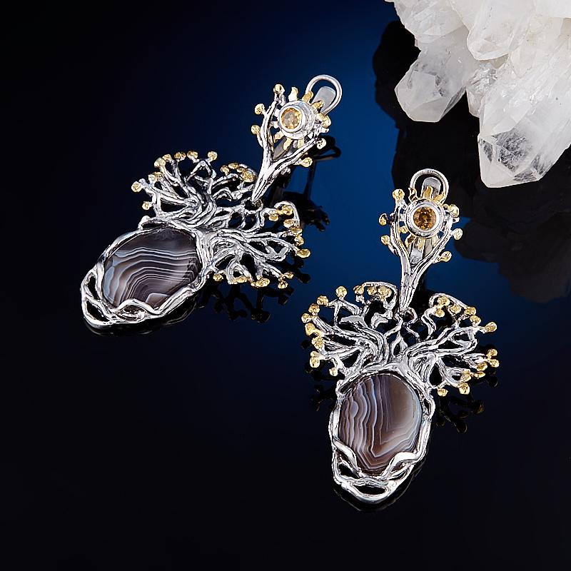 Серьги агат серый (серебро 925 пр., позолота) серьги агат серый серебро 925 пр