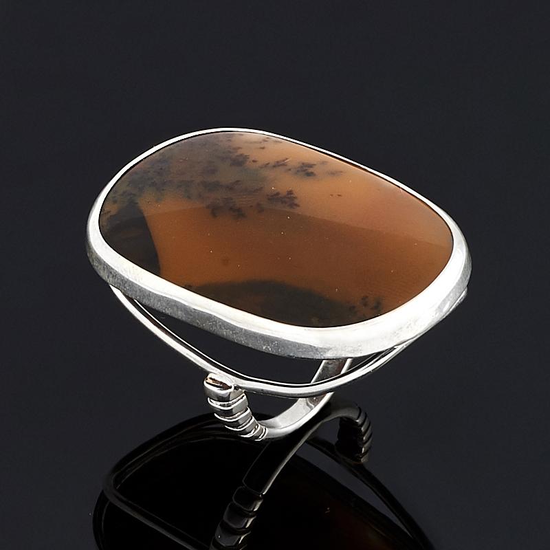 Кольцо агат пейзажный (серебро 925 пр.) размер 18 серьги агат серый серебро 925 пр