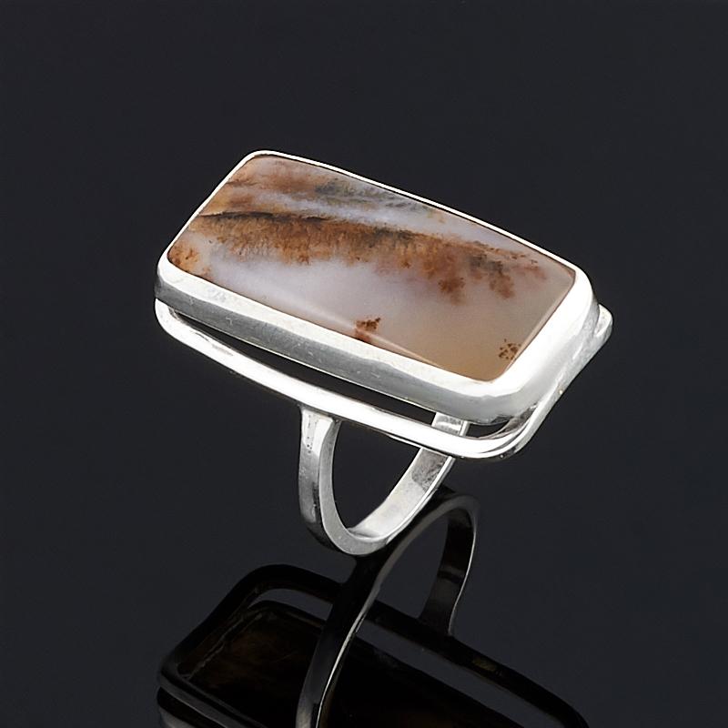 Кольцо агат пейзажный (серебро 925 пр.) размер 17 серьги агат серый серебро 925 пр