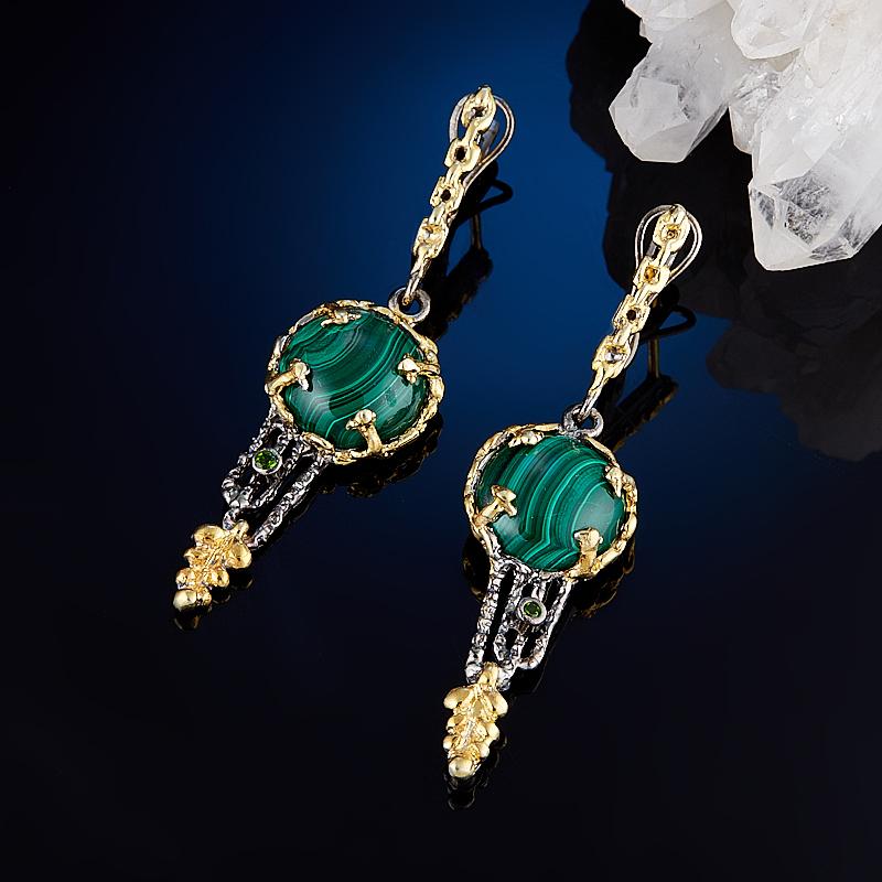 Серьги малахит (серебро 925 пр., позолота) серьги висячие oem 925 925 czkalqra fpuaohba e051 earring