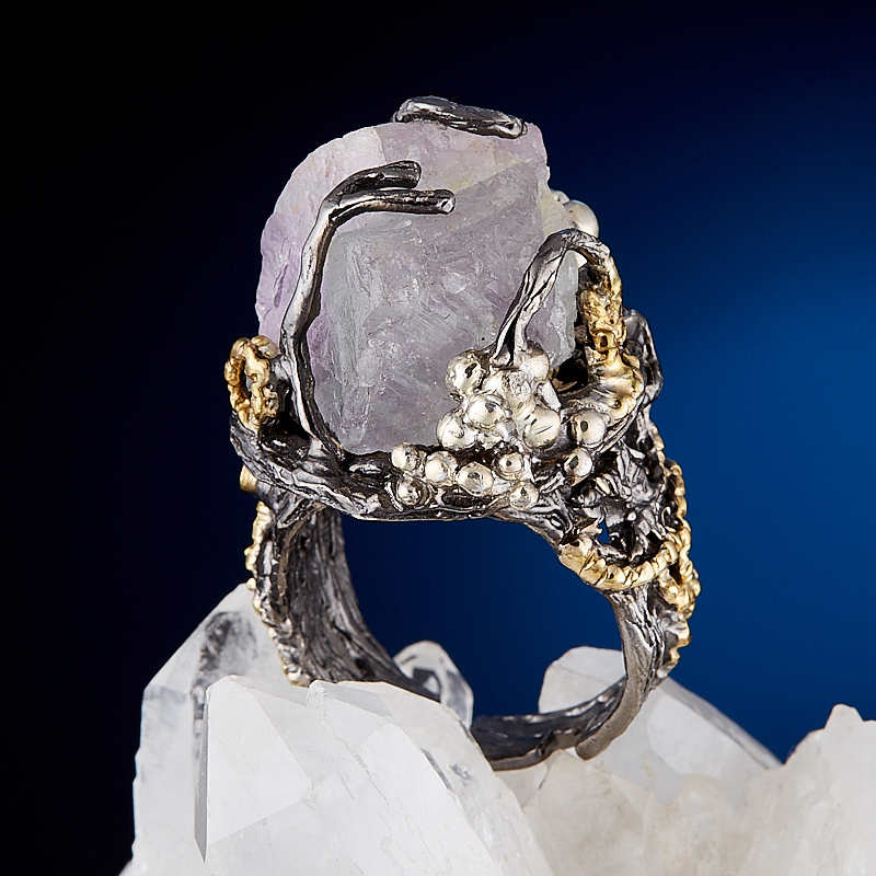 Кольцо флюорит (серебро 925 пр., позолота) размер 18 цены