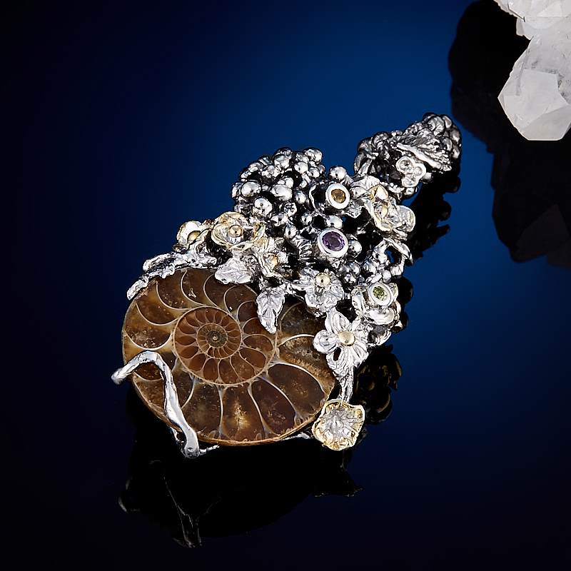 Кулон окаменелость (серебро 925 пр., позолота) кулон хризопраз серебро 925 пр позолота