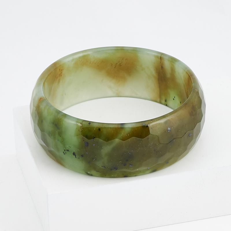 Браслет нефрит зеленый огранка 19 см