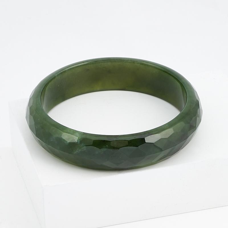 Браслет нефрит зеленый цельный огранка 19 см