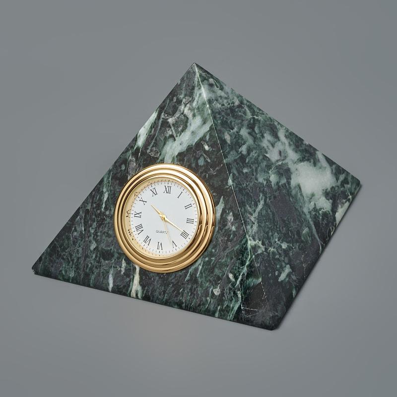 Часы пирамида змеевик Россия 10х11 см