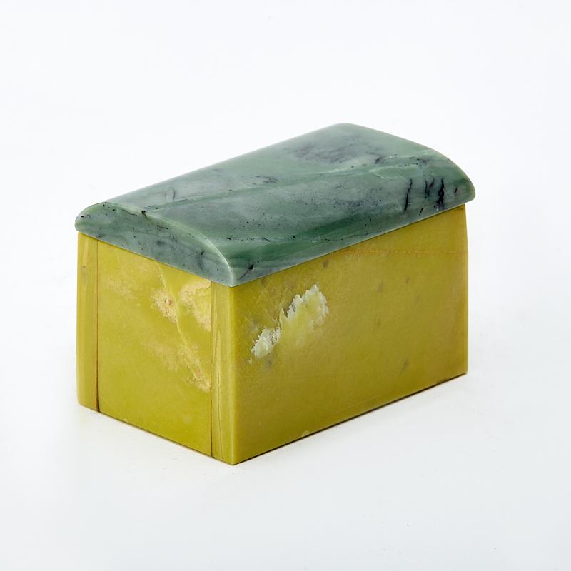 Шкатулка офиокальцит, змеевик 6х4х4 см